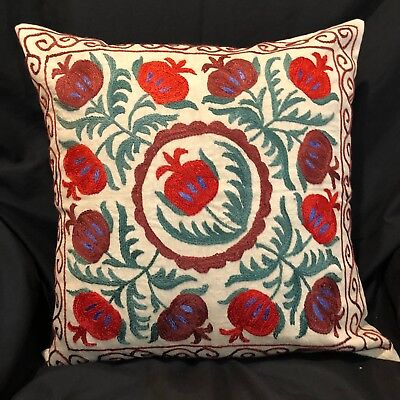 "Uzbek Handmade Suzani Silk Pillowcase, New, 18x18"" (46x46cm), Shipped from USA"