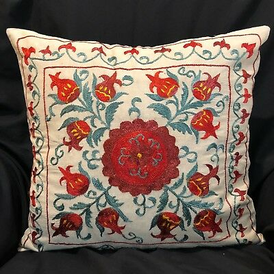"Uzbek Handmade Suzani Silk Pillowcase, New, 19x18"" (48x47cm), Shipped from USA"