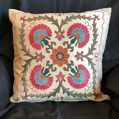 "Uzbek Handmade Suzani Silk Pillowcase, New, 19x19"" (48x48cm), Shipped from USA"