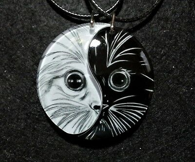 Kitten Friendship Yin Yang Necklaces,Cat Jewelry,Best Friends,Anniversary,Love