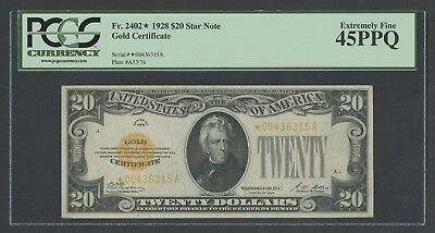 Fr2402* $20 1928 Gold Star Note Pcgs 45 Ppq Ext Fine Wlm6534