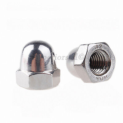 "8# 10# 1/4"" 3/8"" 5/16"" Acorn Cap Dome Nuts To Fit Bolts - A2 304 Stainless Steel"