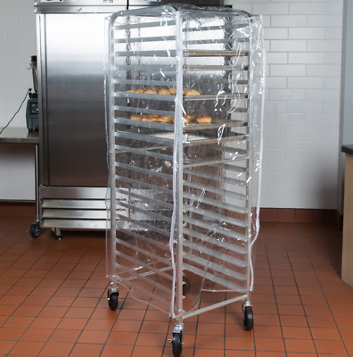 """33 3/4"""" Clear 8 Mil Half-Size Bakery Plastic Bun Pan Rack Cover with 3 Zippers"""