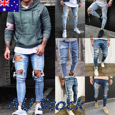 AU Men's Ripped Jeans Skinny Biker Jeans Destroyed Frayed Denim Pant Trousers