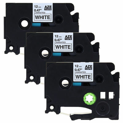"3PK Black on White Label Tape TZ231 TZe231 12mm (1/2"") x 8m for Brother P-Touch"