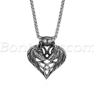 Men's Vintage Stainless Steel Wolf Matching Heart Celtic Pendant Necklace Chain
