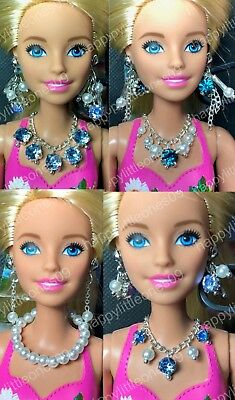 Handmade Necklace & Earrings Set for Barbie Doll Dress/Outfit Multi Designs New