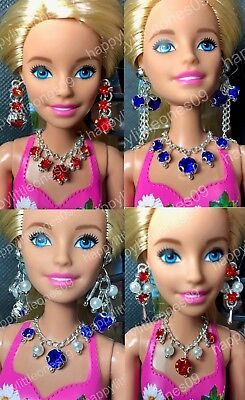 Handmade Necklace and Earrings Set for Barbie Doll Dress/Outfit Multi Designs