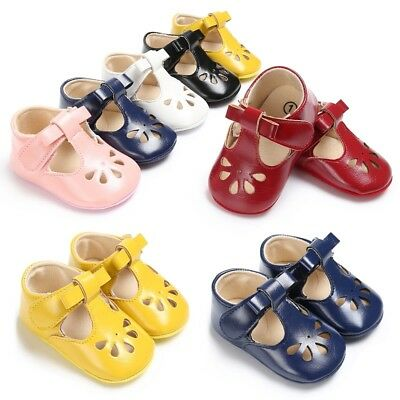 Baby Girl Infant Bow Christening Shoes Princess Crib PU Leather Prewalker Shoes