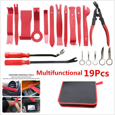19x Red Car Trim Panel Removal Tool Upholstery Fastener Tools Clip Plier Kit Set