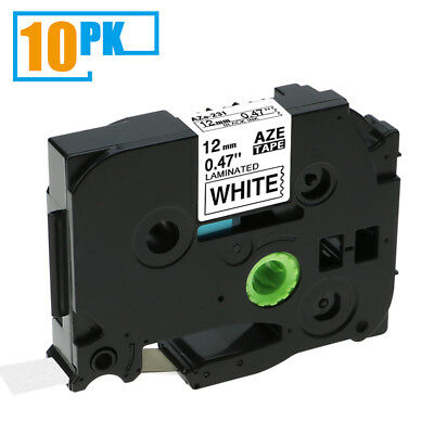 10PK TZ231 TZe231 Black on White Label Tape Compatible For Brother P-Touch 12mm