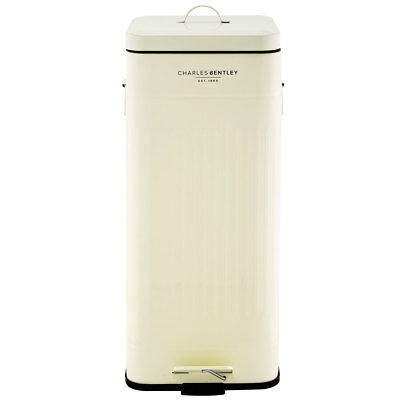 Charles Bentley 30L Steel Square Retro Kitchen Pedal Waste Bin - Cream