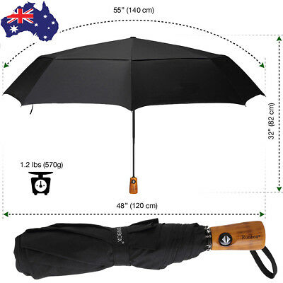 "55"" Umbrella Rain Folding Ultra Durable Deluxe Strong Windproof Large Canopy"