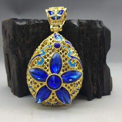 China's Tibet silver inlay cloisonne and handmade gemstone pendant