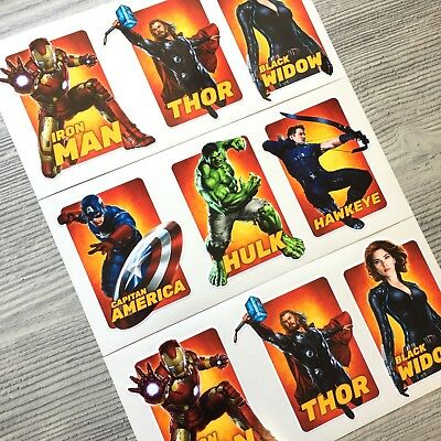 9pc Avengers vinyl sticker Iron Man Hulk Capitan America Thor Hawkeye