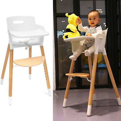97cm Adjustable Baby Kid High Chair Wood Childcare Feeding Highchair With Tray