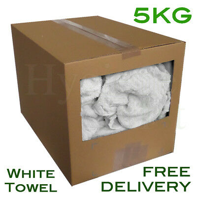 5Kg White Terry Towel Towelling Wiper Industrial Polishing Garage Rags Wipers