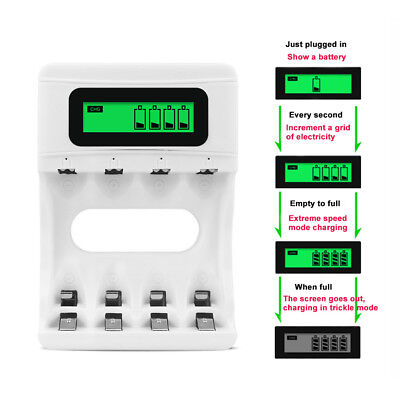 LCD Display Rechargeable Battery Charger AA AAA NiCd NiMh Batteries 4 Slots