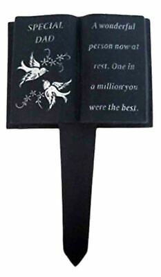 Dad Slate Grey Memorial Book Stack Dove & Diamante Detail Grave Plaque Tribute
