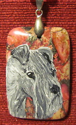 Kerry Blue Terrier hand painted on rectangular pendant/bead/necklace