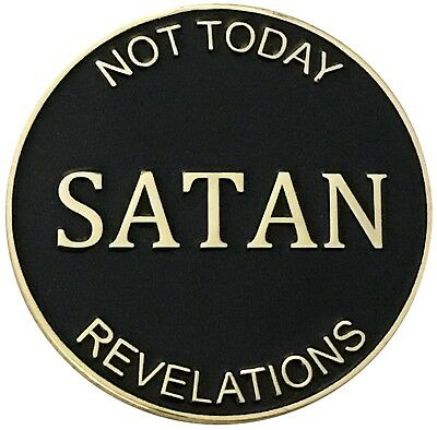 Not Today Satan Christian Faith Heads Tails Challenge Coin - Religious Gift