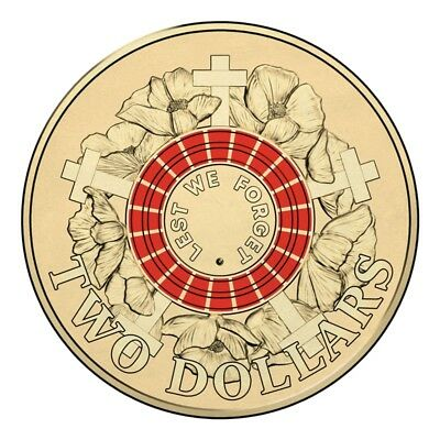 Red Anzac Lest We Forget 2015 - $2 Two Dollar Coin UNC Australia