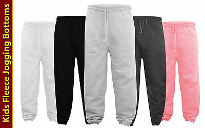 Boys Kids Unisex Plain Jogging Bottoms Warm Fleece Joggers School Trousers 5-13
