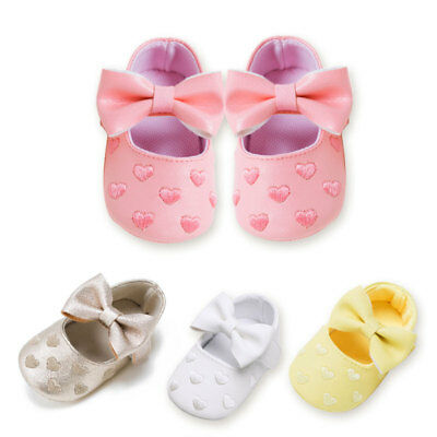 Baby Toddler Girls Crib Shoes Princess first walkers bowknot Soft Prewalker Soft