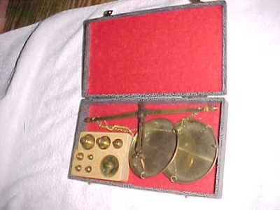 Antique RIGLANDER & CO GERMAN APOTHECARY GOLD SCALE with FULL SET of WEIGHTS