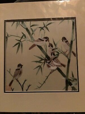 Chinese Silk Embroidery Bamboo with Six Birds Mounted