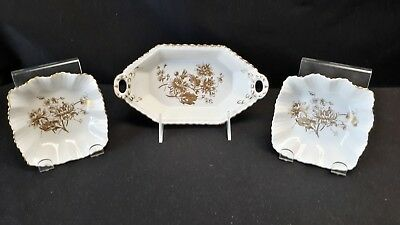 Hammersley Gold & White H123 H120 - Pair of Mint Dishes & an Open Handle Tray