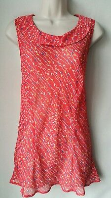 Ladies George Top Size 16 Red Floral Print French Retro Style Sleeveless Ruffle