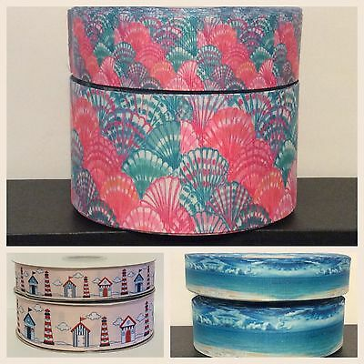 1 x metre BEACH themed Grosgrain Ribbon 25mm/38mm/75mm wide - BOWS, CRAFTS