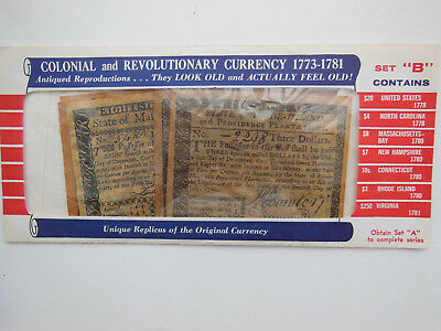 """Vintage Colonial and Revolutionary reproduction currency 1773-1781 - Set """"B"""""""