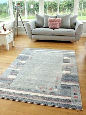 New Blush Pink Beige Silver Grey Modern Squares Design Small Large Rugs Runner
