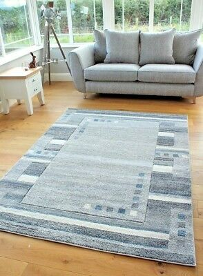 New Light Blue Beige Silver Grey Modern Squares Design Small Large Rugs Runner