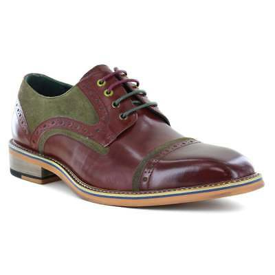 JUSTIN REECE Dennis Mens Leather and Suede Brogue Shoes - Wine Red  Olive Green
