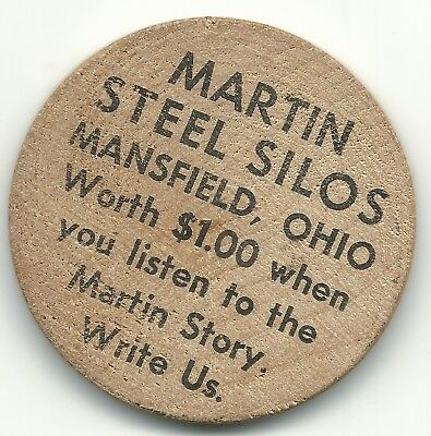 High Grade Wooden Nickel Martin Steel Silos Mansfield Ohio-Agt250