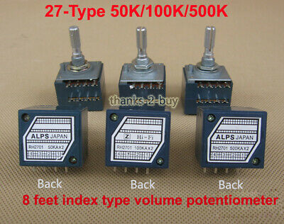 ALPS Volume control 27-Type Dual Potentiometer 50K/100K/500K Round shaft +PCB