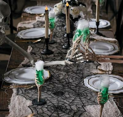"Halloween Haunted House Decorative Black Lace Spider Web Table Runner 74"" x 20"""