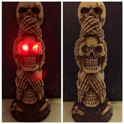 Skull Ornament RED LED FLASHING EYES Figure Statue See Hear Speak No Evil 19cm