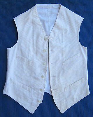 Men's Victorian Edwardian 1920's White Cotton Vest Workwear Waistcoat Size Small