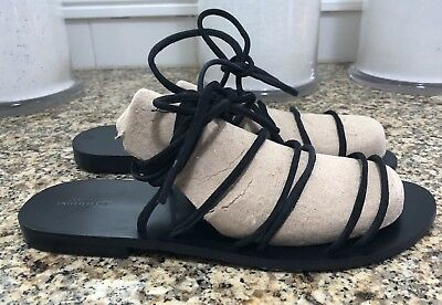 ce3a406e368a NWOT UO Urban Outfitters 8 Black Flat Lace Up Gladiator Minimalist Boho  Sandals