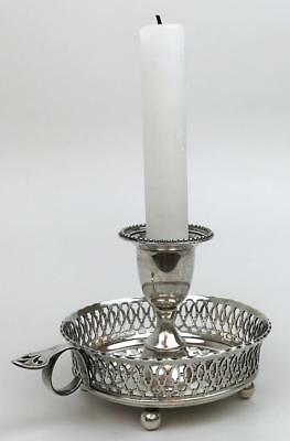 Antique Edwardian 1809/1890 925 Sterling Silver Footed Chamberstick Candlestick