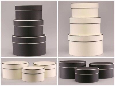 Set of 3 Top Quality Vintage Cream or Black Round Hat Boxes