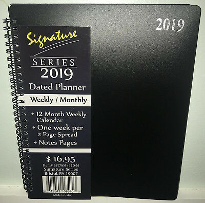 "NEW 2019 Weekly Monthly Planner Signature Series Calendar Black Spiral 8""x10"""