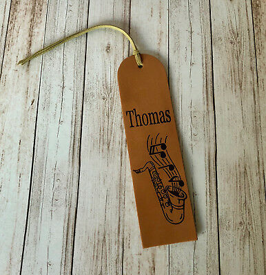Personalised Genuine Leather Bookmark Saxophone Wedding Gift 3rd Anniversary