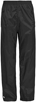 Trespass Packup Trouser, Black, XL, Compact Packaway Waterproof Trousers with 3