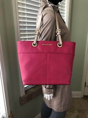 6f9e22ae0dc9 MICHAEL KORS BEDFORD Pocket Top Zip Tote Ultra Pink Pebbled Leather ...