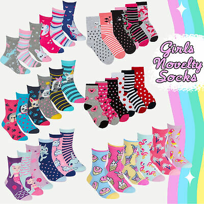 Girls Kids 6 Pairs Novelty Socks Cotton Rich Cartoon Unicorn Animals Striped NEW